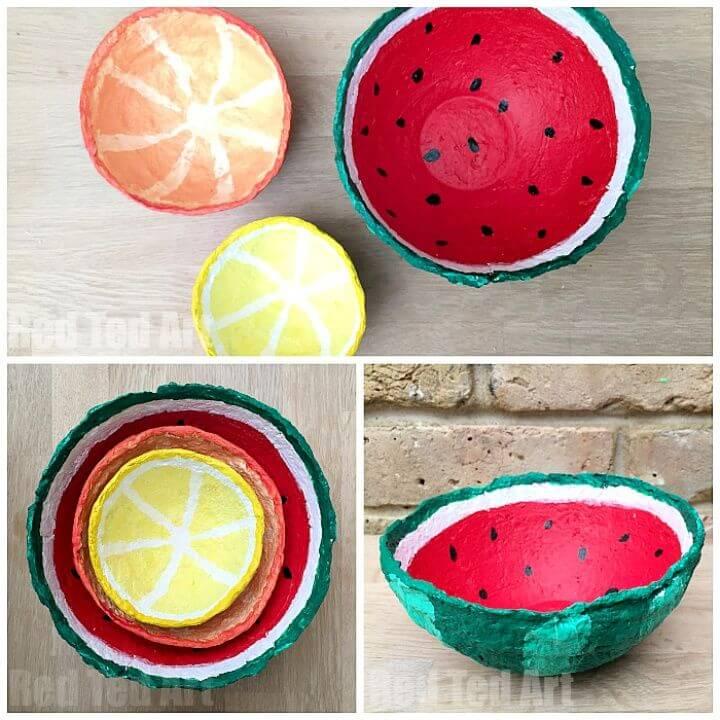 Adorable DIY Papier Mache Summer Fruit Bowls