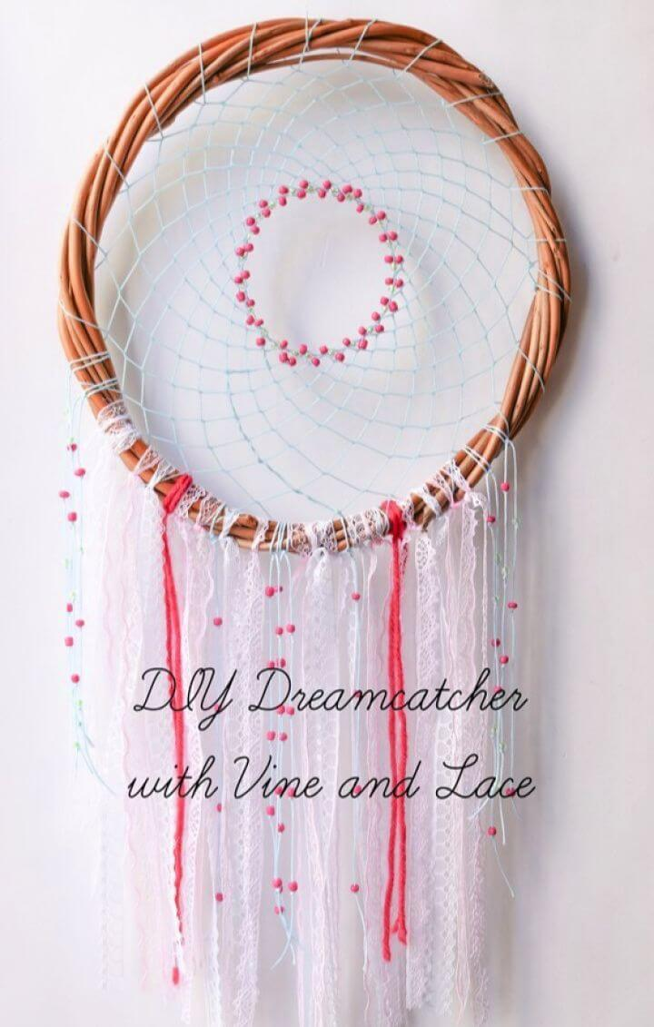 Beautiful DIY Dreamcatcher with Vine and Lace