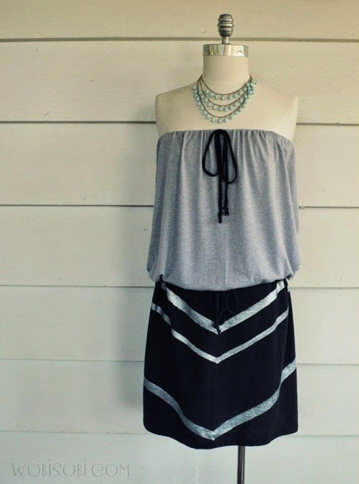 Beautiful DIY Strapless Chevron Dress