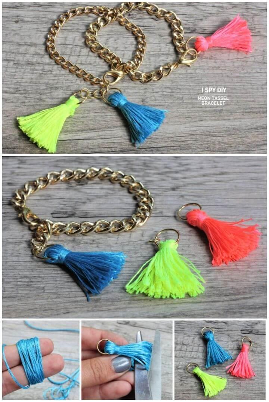 Create A DIY DIY Neon Tassel Bracelet