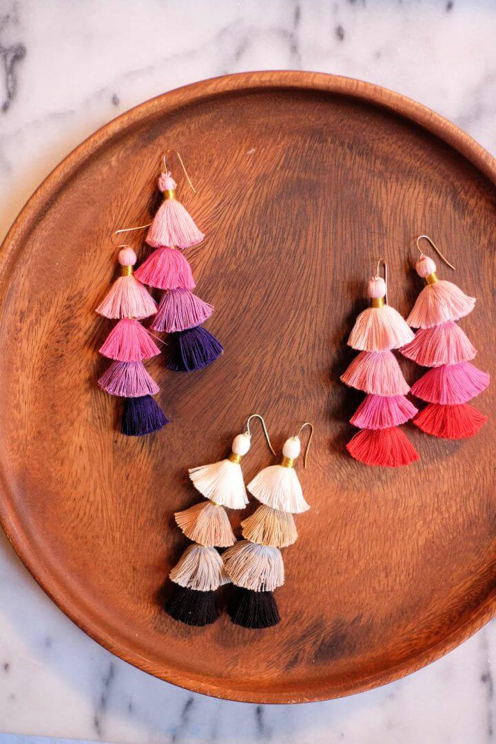 Create A DIY Multicolor Tassel Earrings