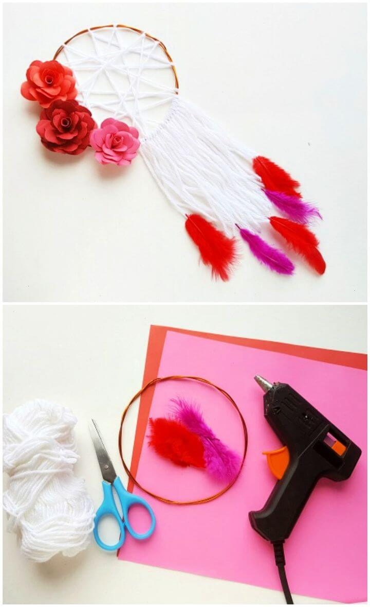 Cute DIY Dreamcatcher With DIY Paper Flowers