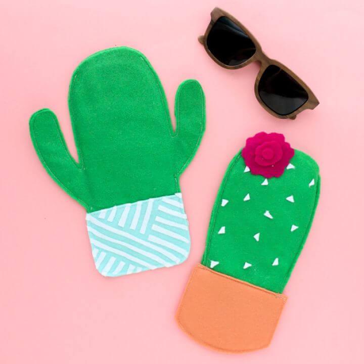 Cute DIY Felt Cactus Sunglasses Case