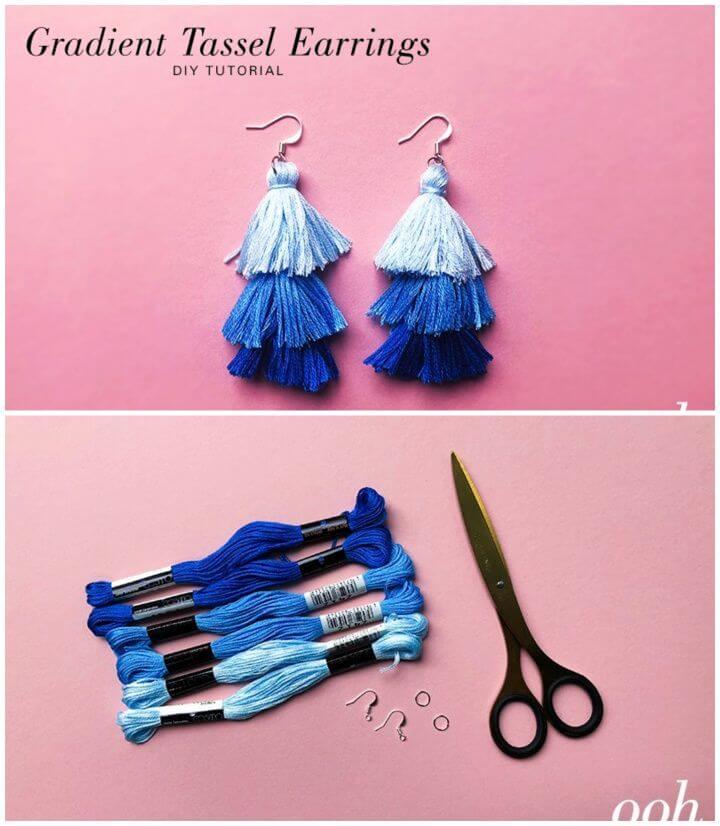 Cute DIY Gradient Tassel Earrings