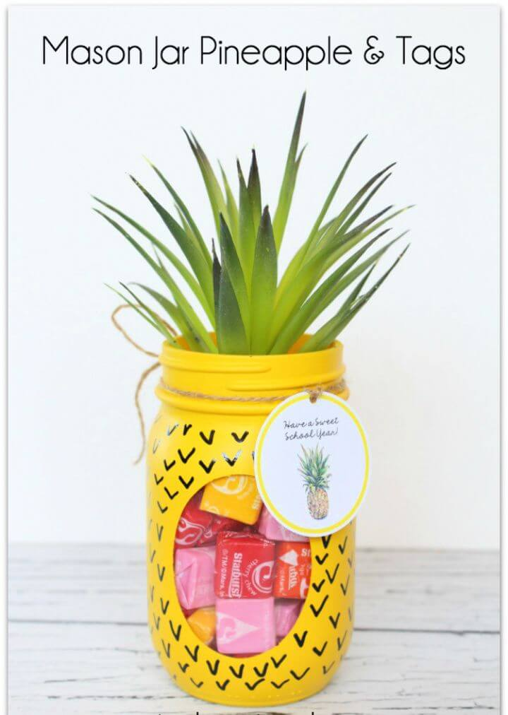 Cute DIY Mason Jar Pineapple and Tags