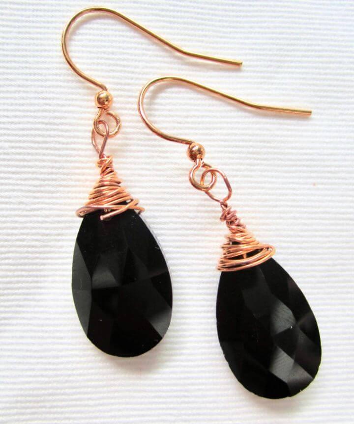 DIY Black Teardrop Earrings Made With Swarovski Crystals