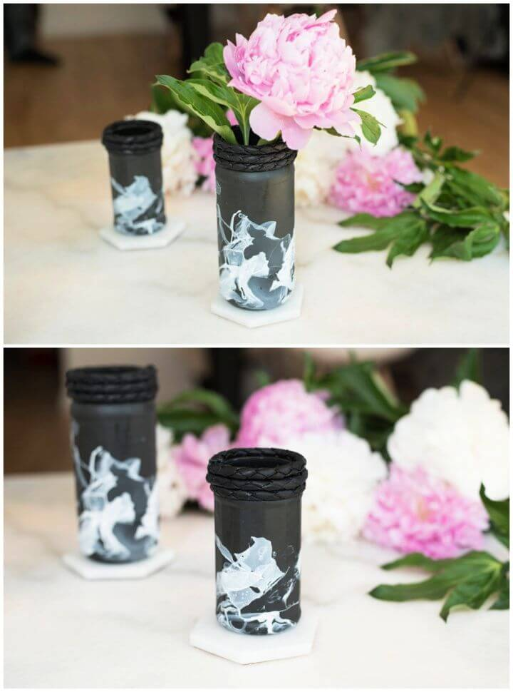 DIY Black White Flower Vases