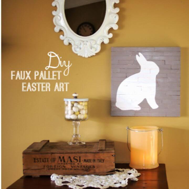 DIY Faux Pallet Easter Canvas