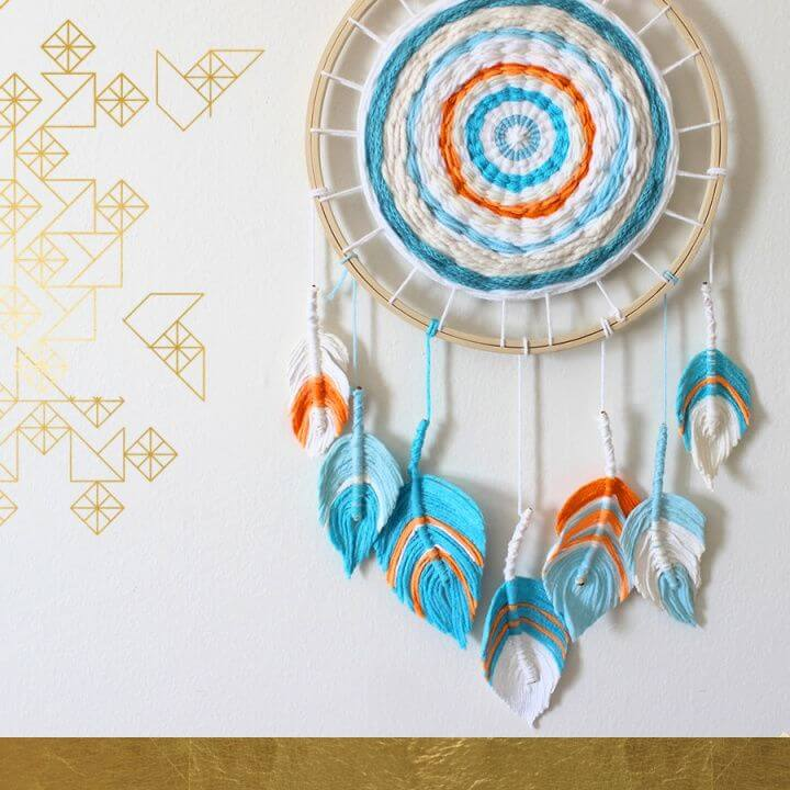 DIY Fiber Feather Dreamcatcher For Home