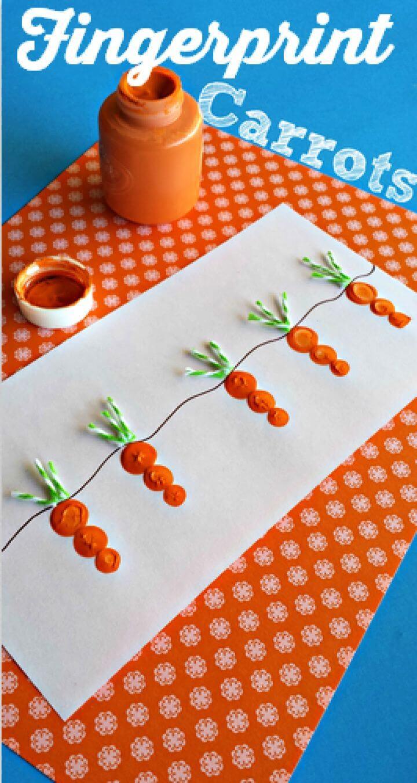 DIY Fingerprint Carrot and Bunny Craft for Kids
