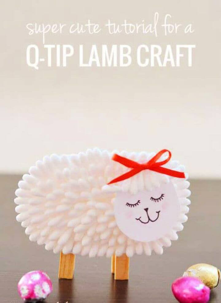 DIY Fluffy Lamb Made With Q tips For Kids