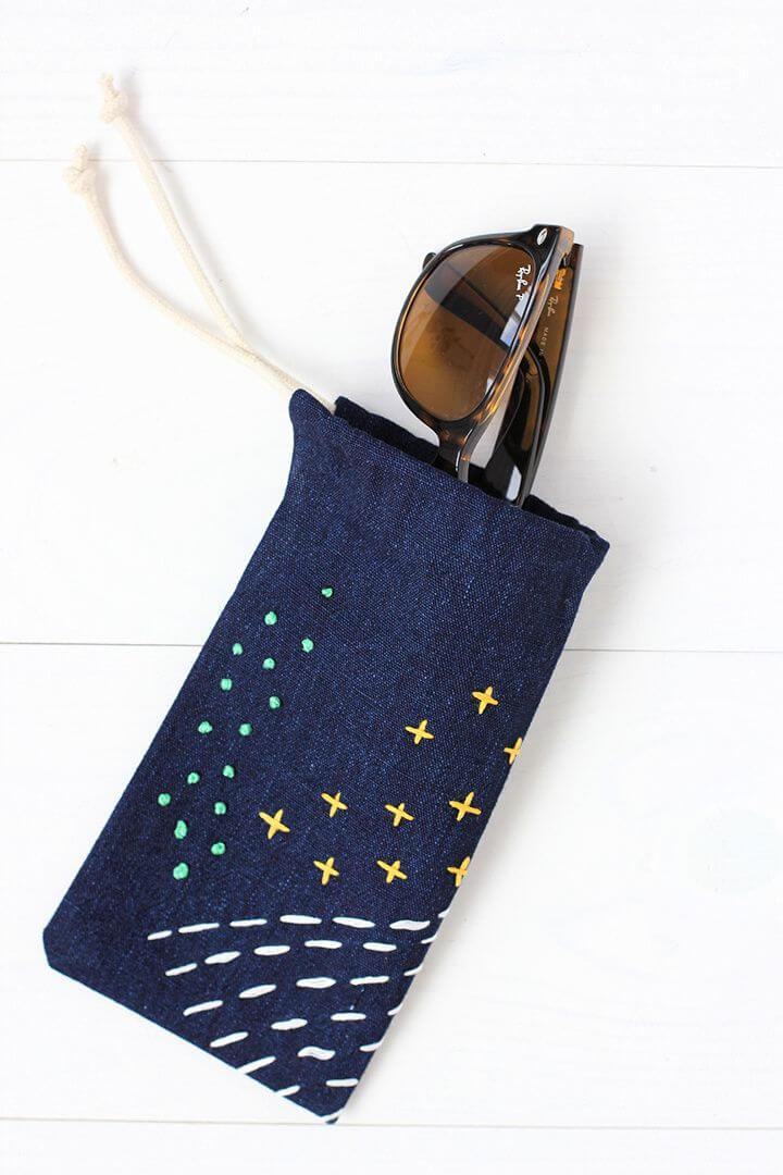 DIY No Sew Embroidered Sunglasses Case
