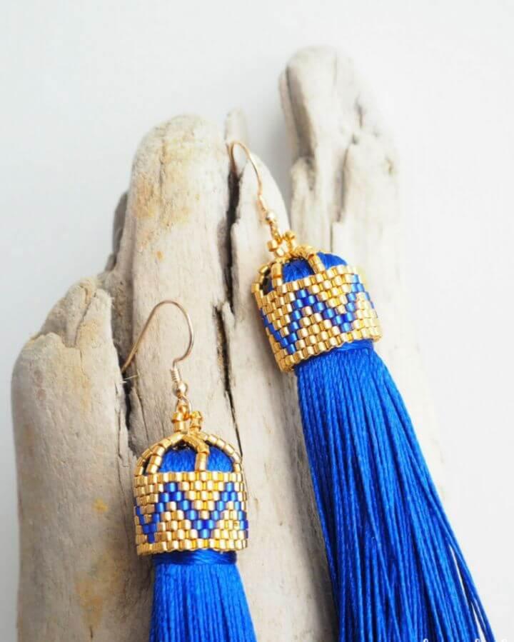 DIY Silk Tassel Earrings with Beaded Tie