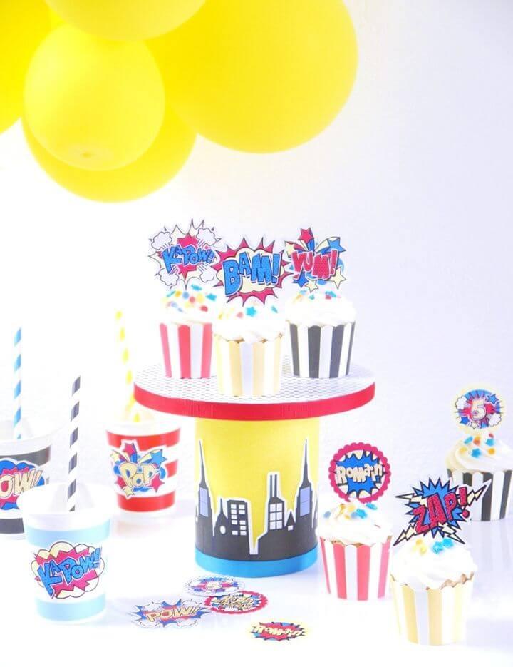DIY Superhero Birthday Cupcake Stand