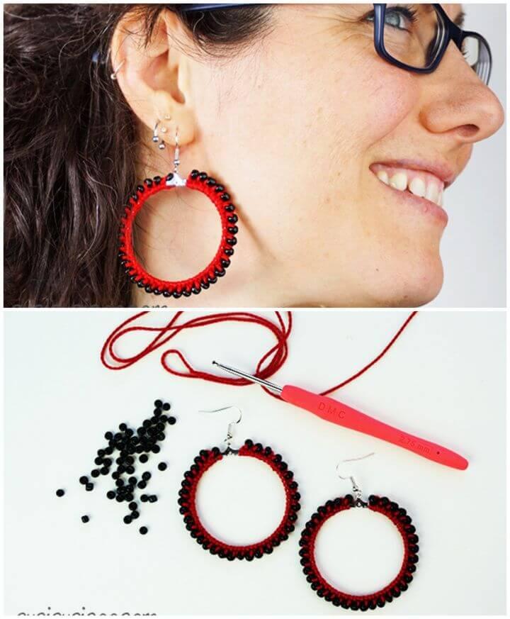 Easy DIY Beaded Crochet Earrings Tutorial