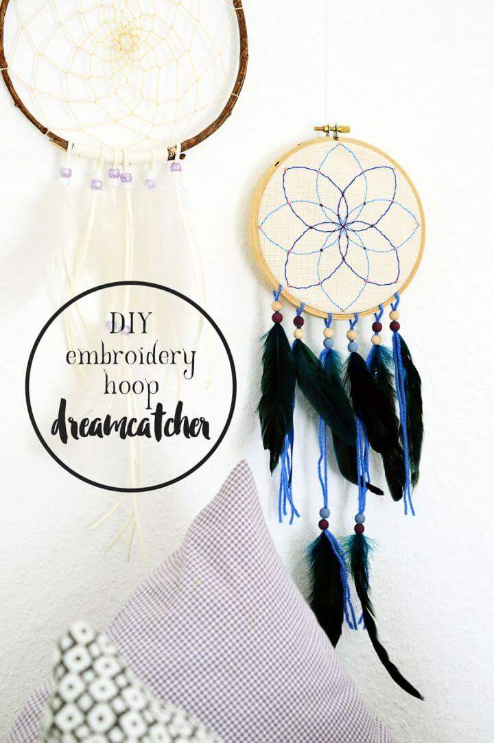 Easy DIY Embroidery Hoop Dreamcatcher For Home Decor