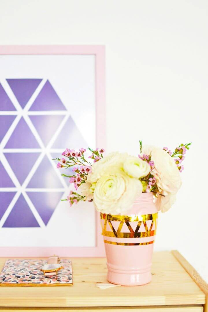 Easy DIY Geometric Metallic Vases