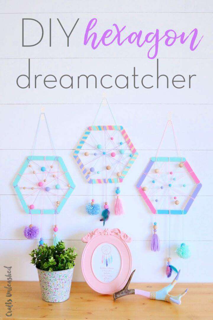 Easy DIY Hexagon Dreamcatchers