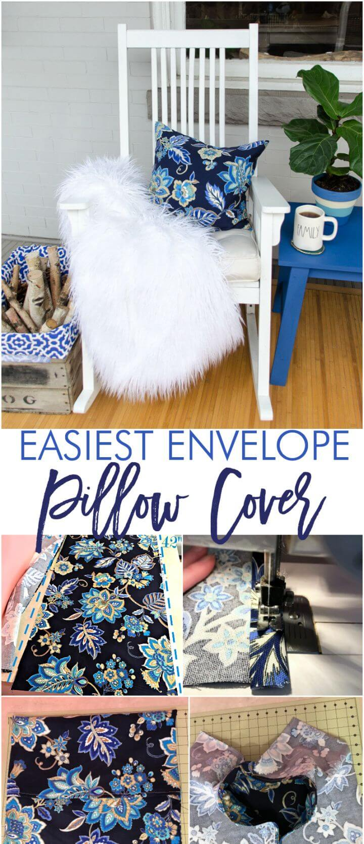 Easy DIY One Piece Fabric Envelope Pillow Cover Tutorial