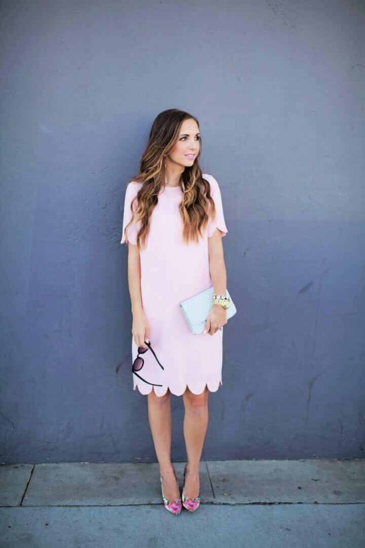Easy DIY Pink Scalloped Hem Dress 682x1024