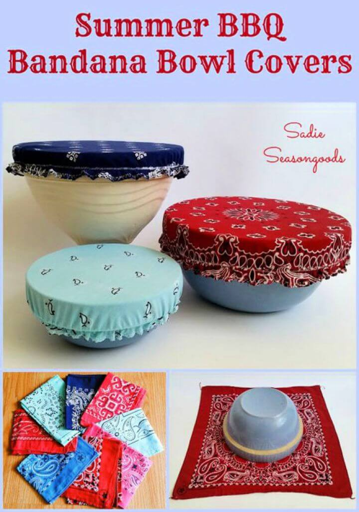 Easy DIY Vintage Bandana Bowl Covers