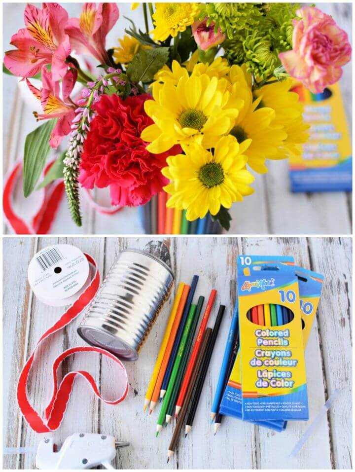How To Create A DIY Colored Pencil Flower Vase
