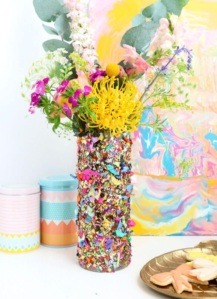 How To DIY Confetti Flower Vase