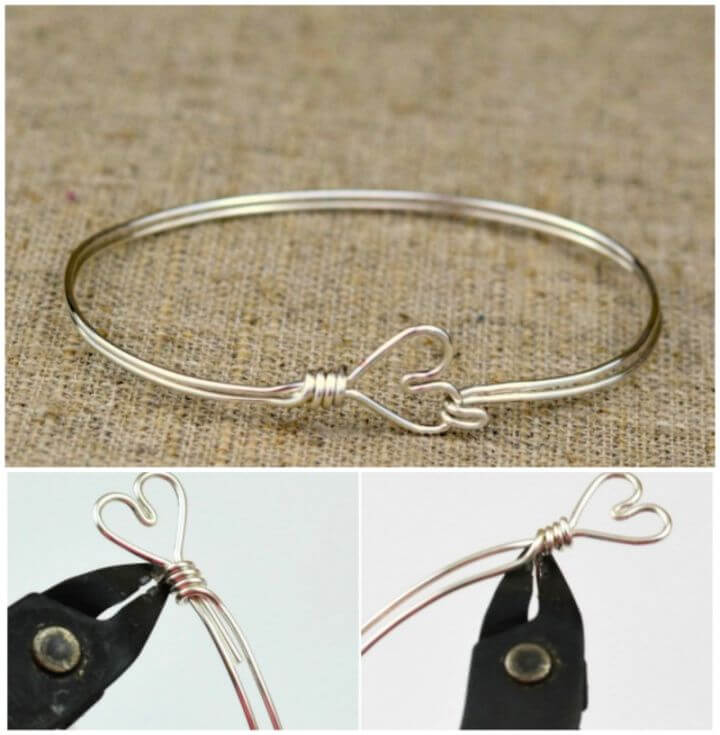 How To DIY Heart Clasp Wire Wrapped Bangle Bracelet