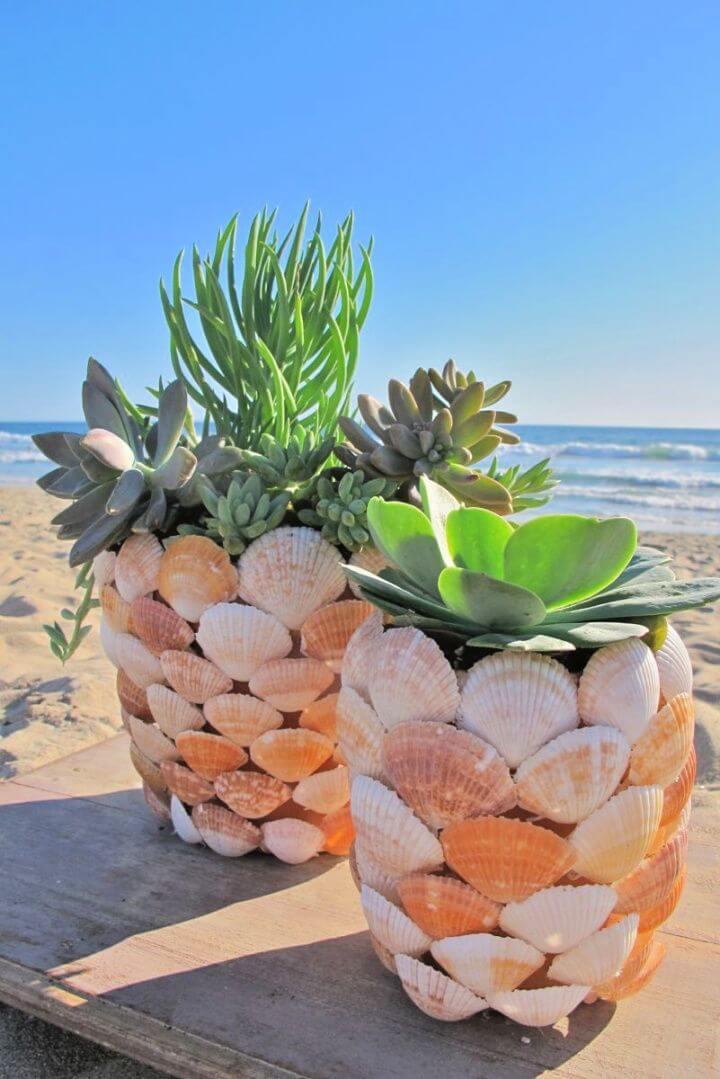 How To DIY Seashell Planter