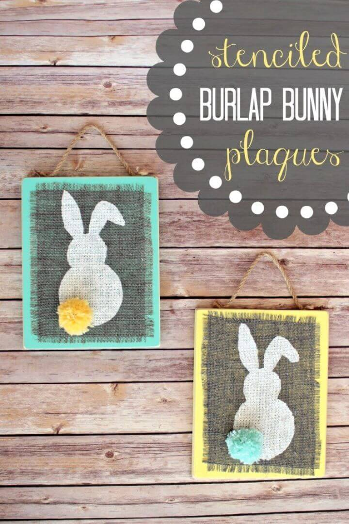 How To DIY Stenciled Burlap Bunny Plaques