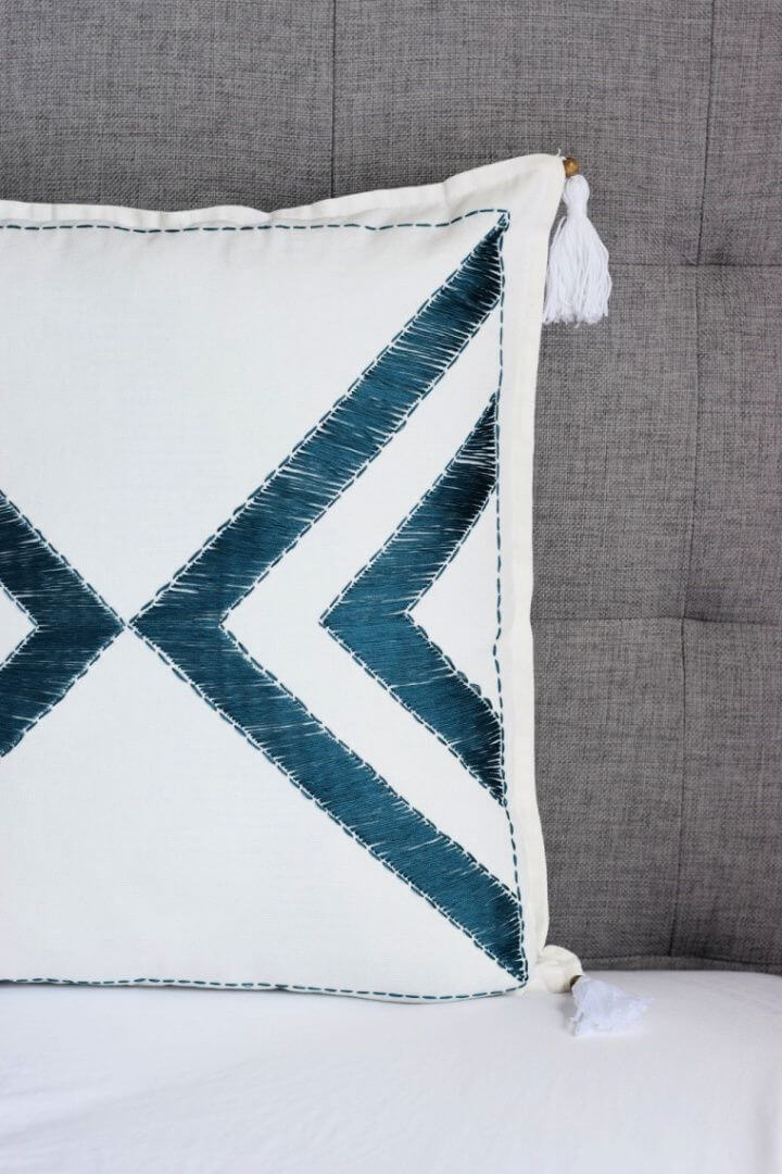Make A DIY Embroidered Tassel Pillowcase