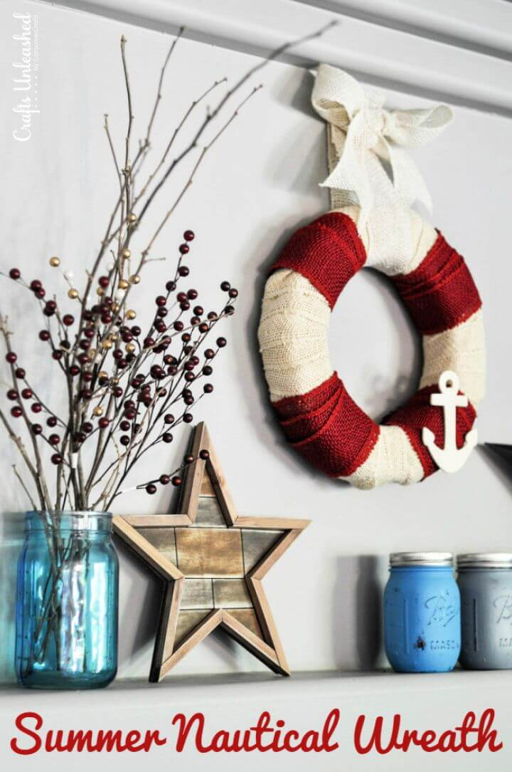 Nautical DIY Burlap Wreath