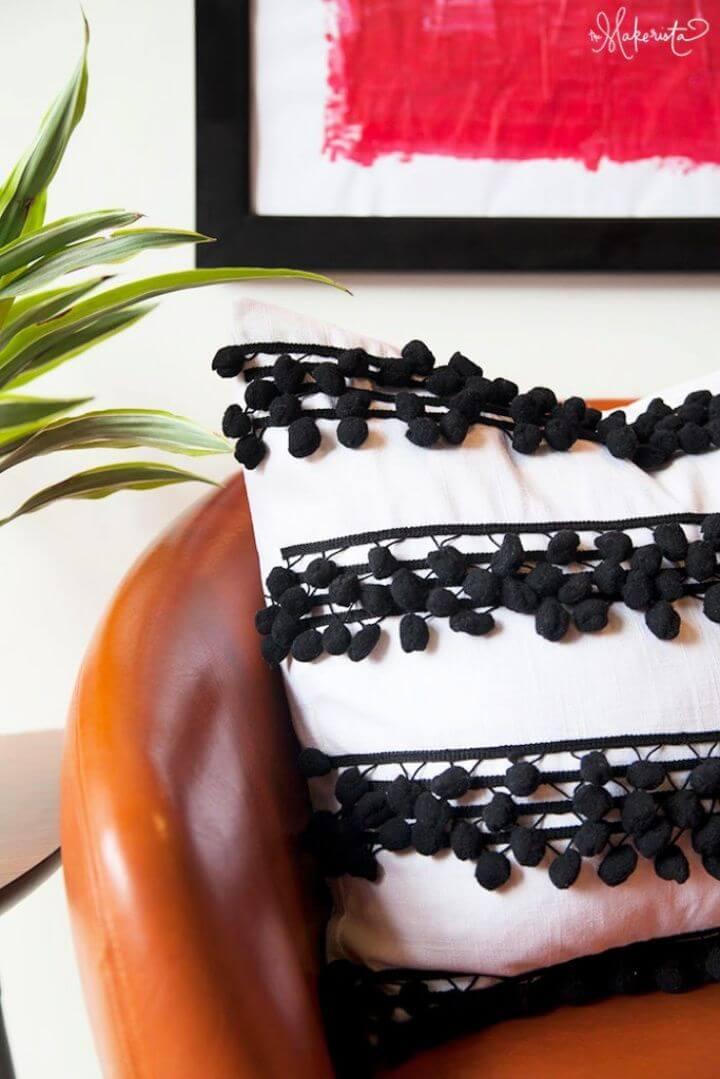 Pillowcase DIY With Striped Pompom Trim