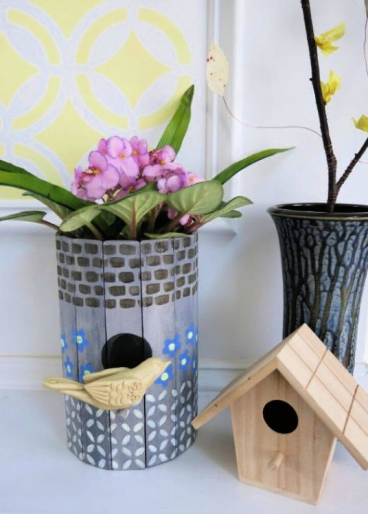 Simple DIY Birdhouse Into A Planter Or Flower Vase