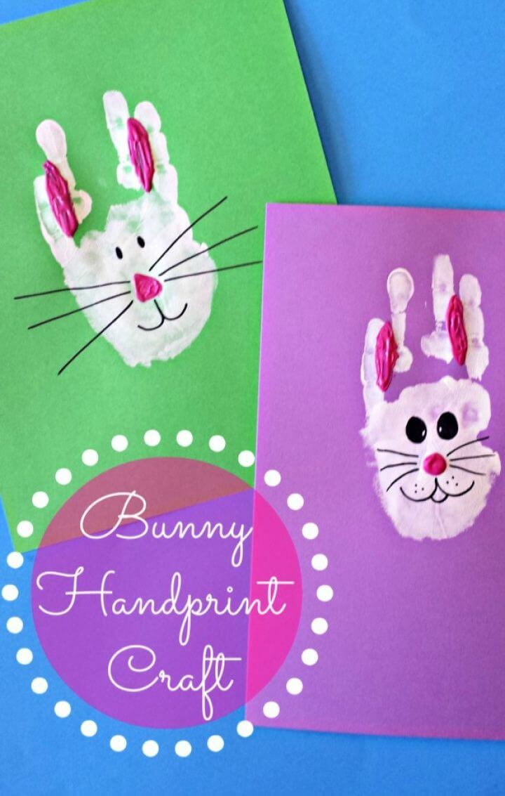 Simple DIY Bunny Rabbit Handprint Craft For Kids