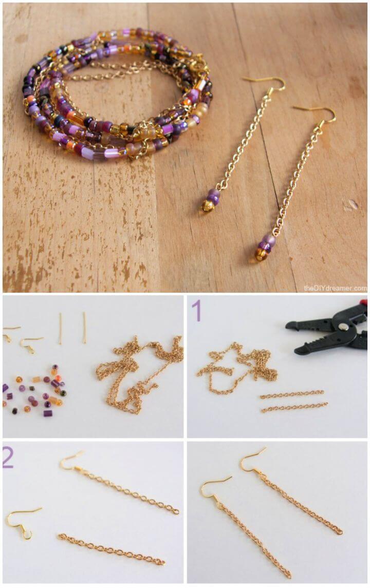 Simple DIY Chain And Bead Earrings Tutorial