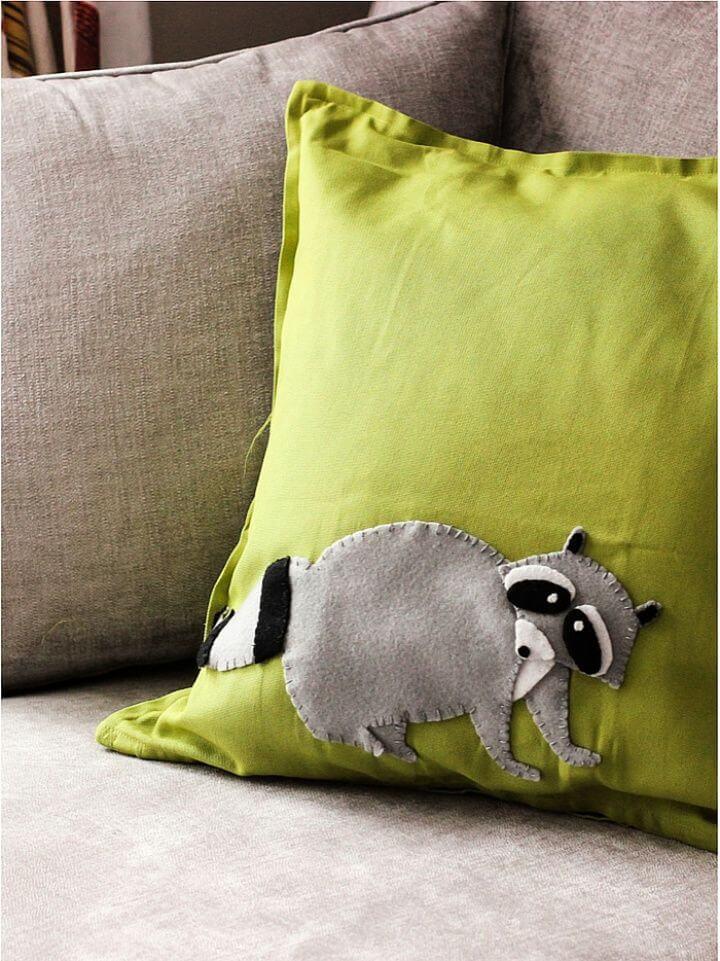 Simple DIY Felt Raccoon Pillowcase