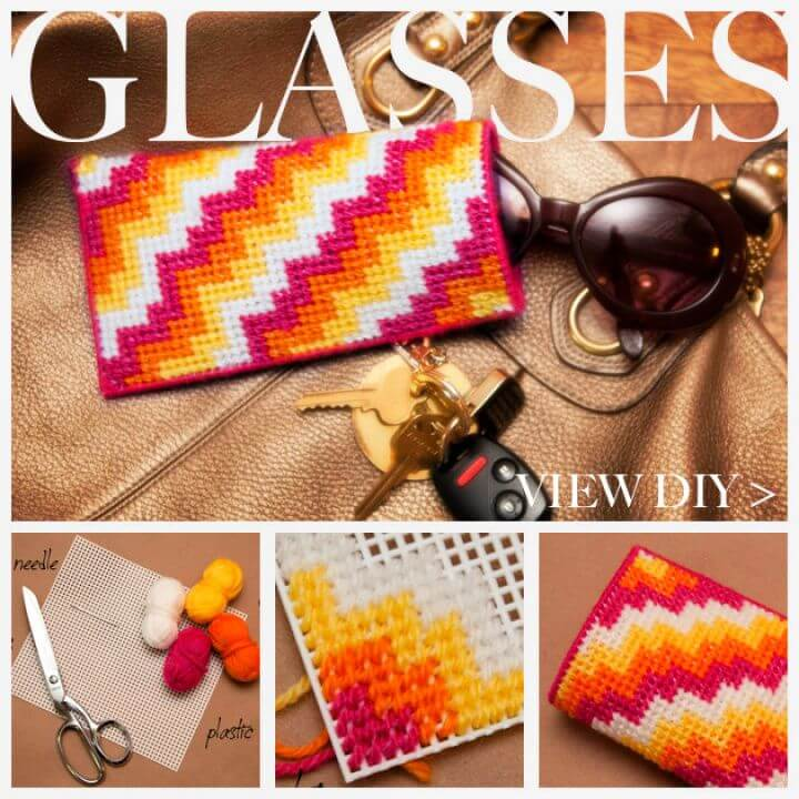 Simple DIY Plastic Canvas Glasses Case