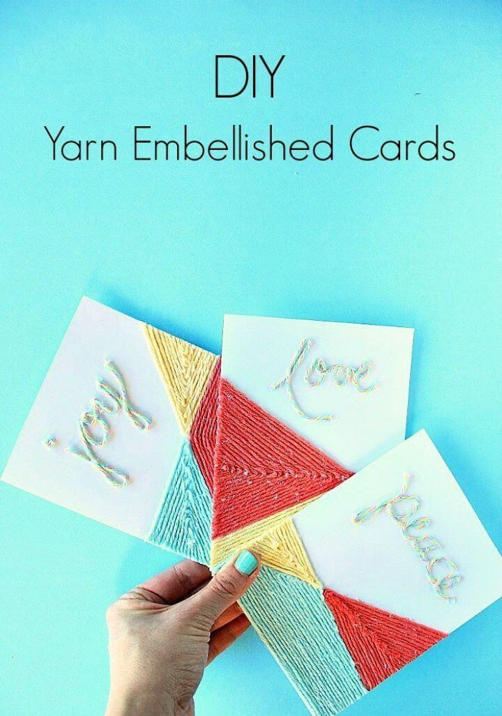 Beautiful DIY Yarn Embellished Cards