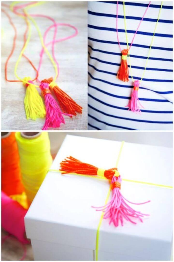 Best DIY Neon Yarn Tassel Necklace