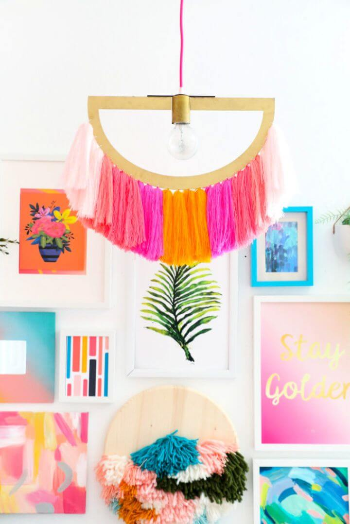 Best DIY Yarn Fringe Pendant Light