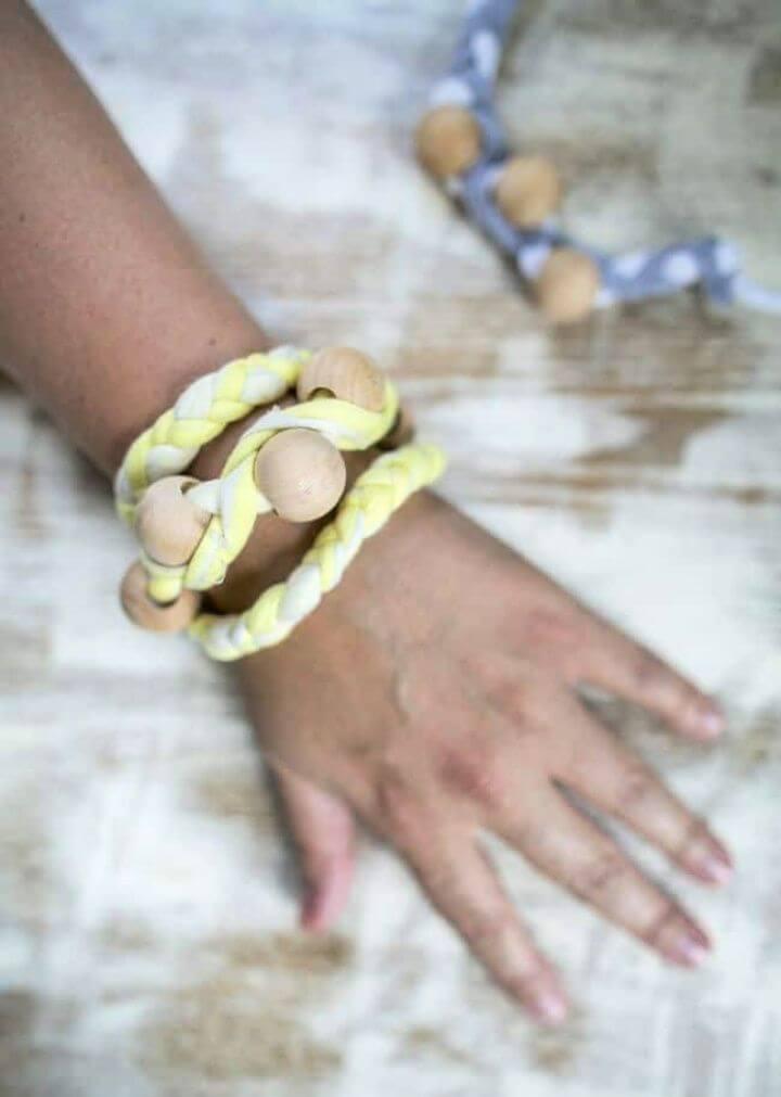 Braided Wooden Bead Wrap Bracelet