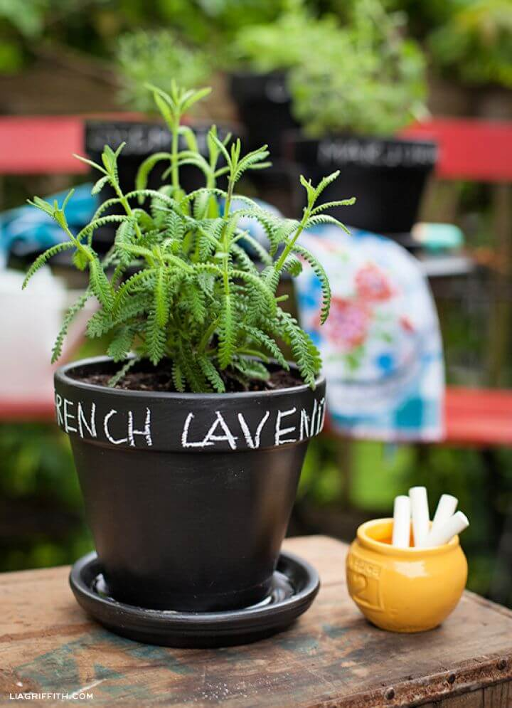 Chalkboard Painted DIY Herb Pots