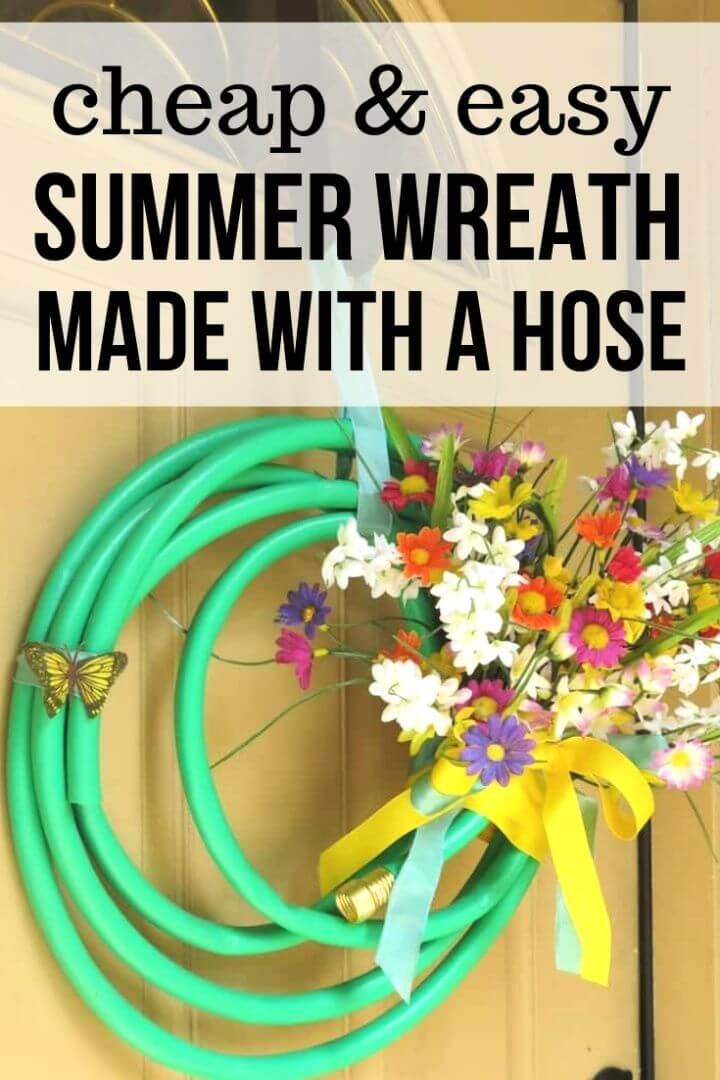 Cheap And Easy Summer Wreath Made With Garden Hose