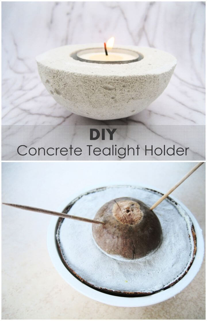 Concrete Tealight Holder From An Avocado Shell