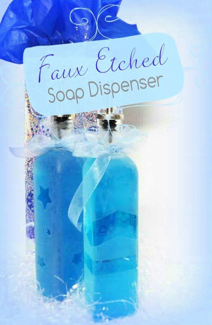 Cute DIY Faux Etched Glass Soap Dispenser Gift