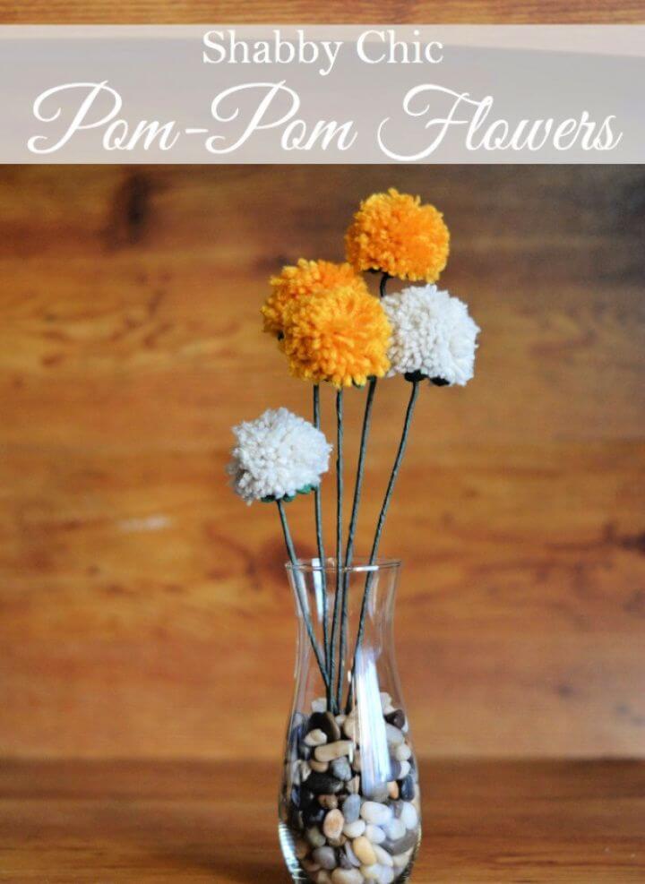Cute DIY Shabby Chic Pom Pom Flowers