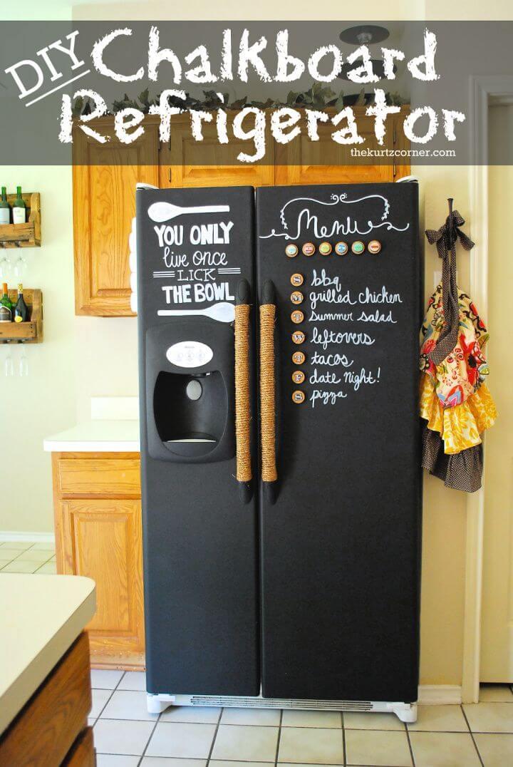 DIY Chalkboard Refrigerator