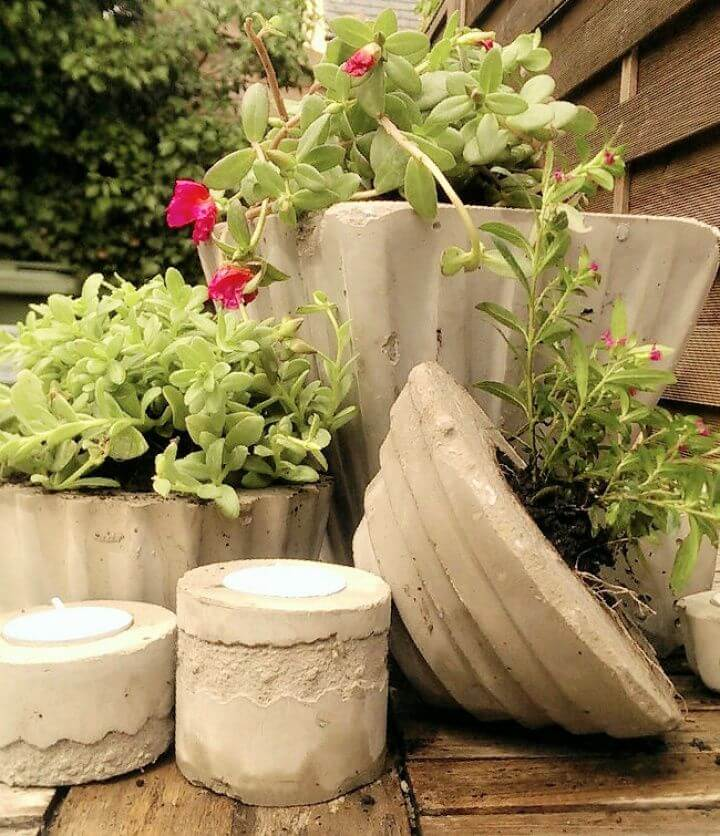 DIY Concrete and Cement Planters and Candle Holders