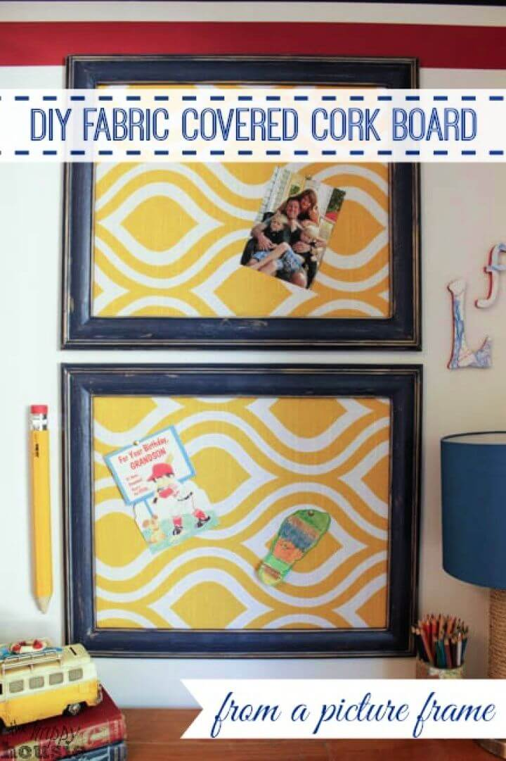 DIY Fabric Covered Cork Board using a Picture Frame